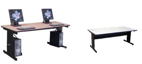 Set Of Two Wide X Deep Adjustable Height Computer Room - Adjustable training table
